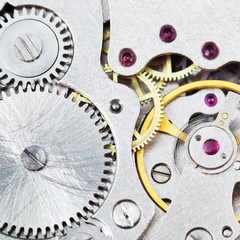 background from steel movement of vintage watch