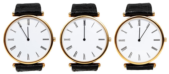 set of wristwatches with midnight time