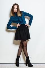 pretty young woman fashion model in retro style