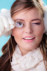 Happy woman in winter clothes portrait