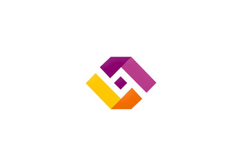 business square ribbon balance vector logo