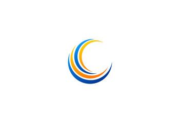 C letter swirl vector logo