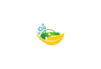 car wash ecology system vector logo