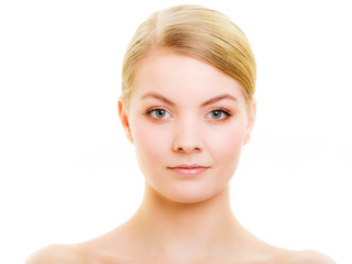 Portrait blond girl with natural makeup isolated
