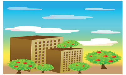 landscape with building city