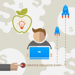 Vector creative business idea good start bulb