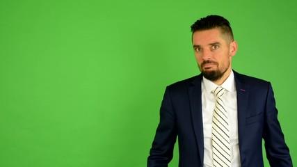 business man surprised - green screen - studio
