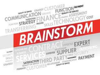Word cloud of BRAINSTORM related items, presentation background