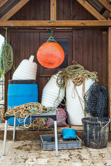 Fishing equipment in front of a fisherman hut in Santa Luzia
