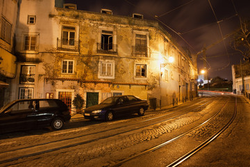 Old City of Lisbon in Portugal at Night