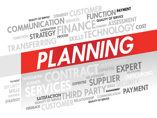 Word cloud of PLANNING related items, presentation background