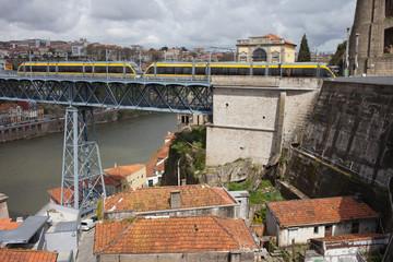 Metro on Dom Luis I Bridge in Porto