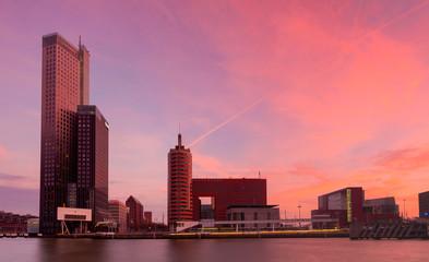 skyline of rotterdam at sunset