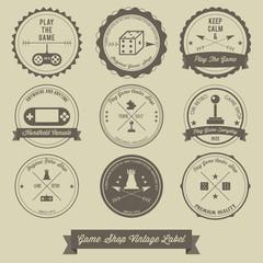 Game Shop Vintage label design