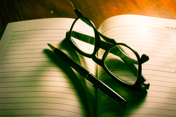 Eyeglasses and pen on plan book.