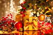 Decorated Christmas tree with gifts. Holiday Christmas scene - 73600804