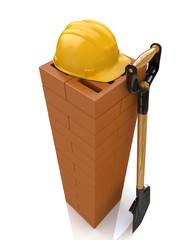 3D brickwork, yellow safety helmet and shovel. Construction