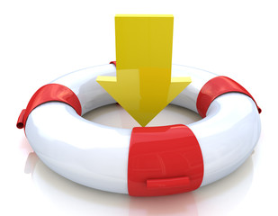 lifebuoy and yellow arrow