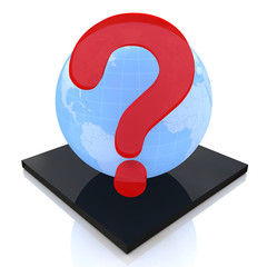 Earth globe with question mark, FAQ concept
