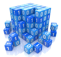 Binary code on digital blue cube, 3d image