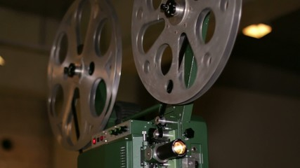 Film Projector Projecting 16mm Movie