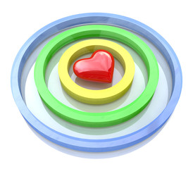 Heart in the center of darts target aim. Valentines day concept