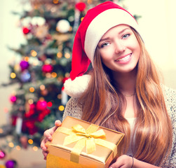 Happy Teenage Girl With Christmas Gift Box