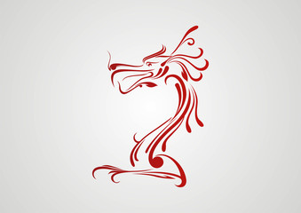 Decorative dragon vector illustration ornament