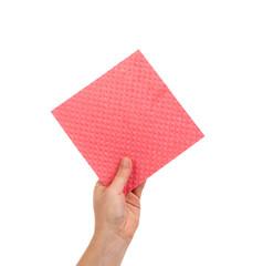 Hand holds sponge
