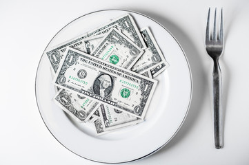 Plate of dollars