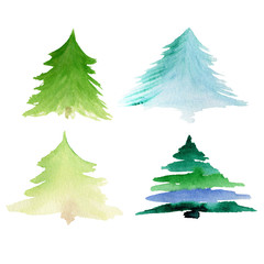 Christmas tree set in watercolor style isolated on white backgro