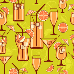 Set of cocktails on green, seamless pattern, vector illustration