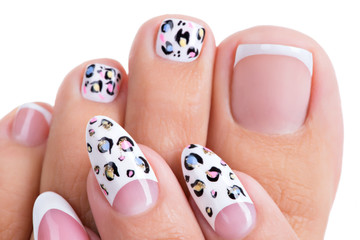 Beautiful woman's nails  with art design on the nails
