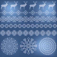 Winter holiday set on blue blurred background