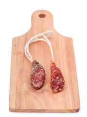Iberian sausage on wood