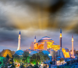 Magnificent sunset view of Hagia Sophia, Istanbul - Turkey