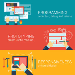 Flat style process programming prototyping infographic concept