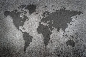 world map draw on chalkboard