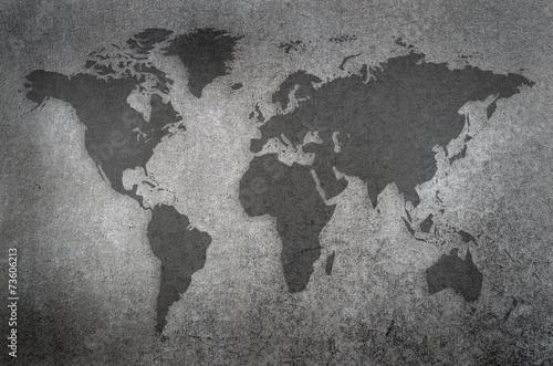 Fototapeta world map draw on chalkboard