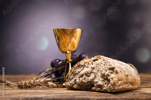 Poster Sacred objects, bible, bread and wine.