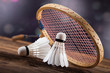 A set of badminton. Paddle and the shuttlecock. - 73606692