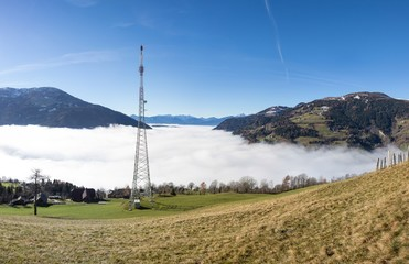 Autumn View Panorama Radenthein With Fog In The Valley