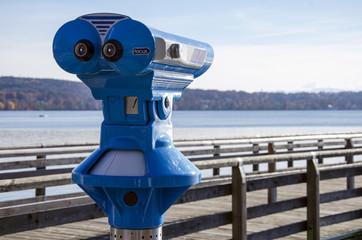 binoculars, exploration, wooden bridge, mountainous shores, lake