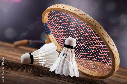 Fototapeta A set of badminton. Paddle and the shuttlecock.