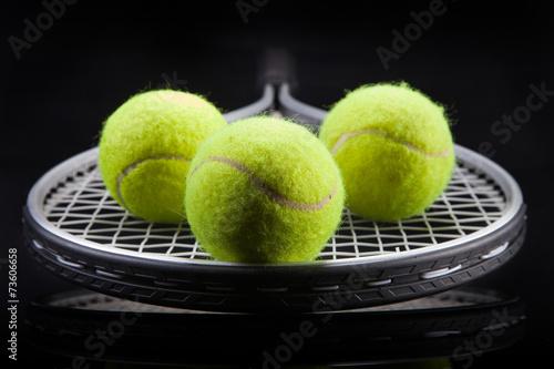 Obraz na plátně A set of tennis. Racket and ball.