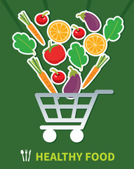 shopping healthy food.healthy food in basket