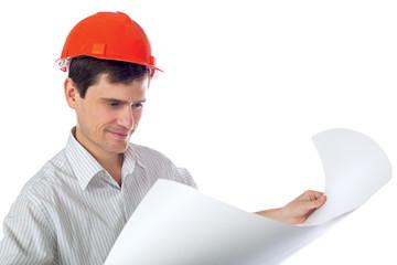 man in a shirt orange construction helmet with blueprints