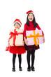 happy little girls showing christmas gift box