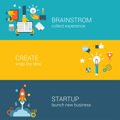 Flat style brainstorming, idea creation, startup infographic