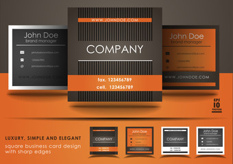 Square business card design in orange and brown